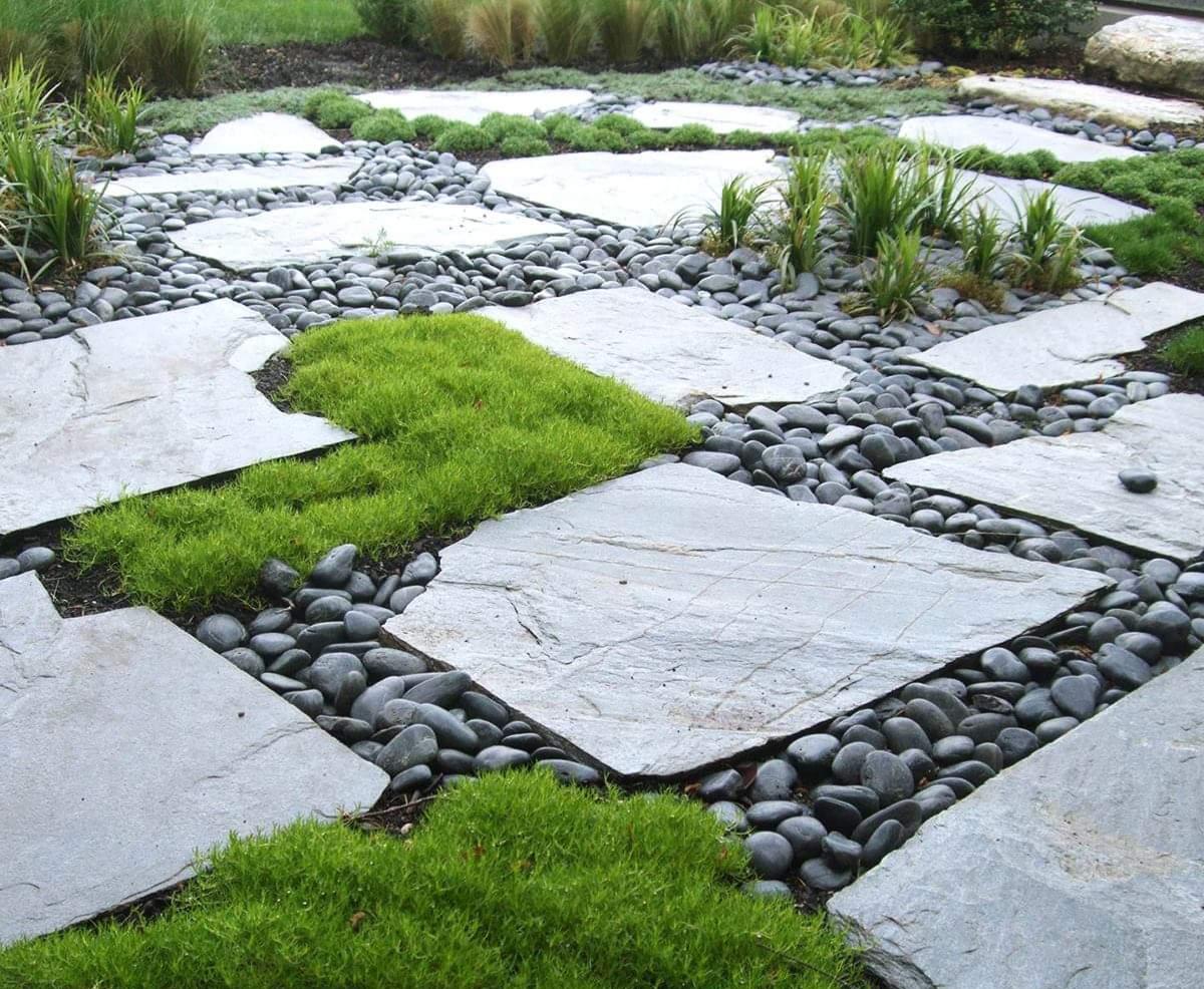 Massif Galet Blanc Et Ardoise jardin pierre paysage deco pas japonais